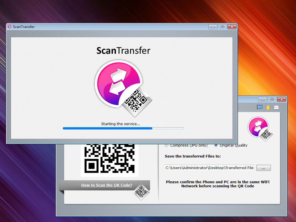 ScanTransfer is a free Windows desktop software program which enables you to transfer photos and videos from your smart phone to your computer or laptop. ScanTransfer doesn